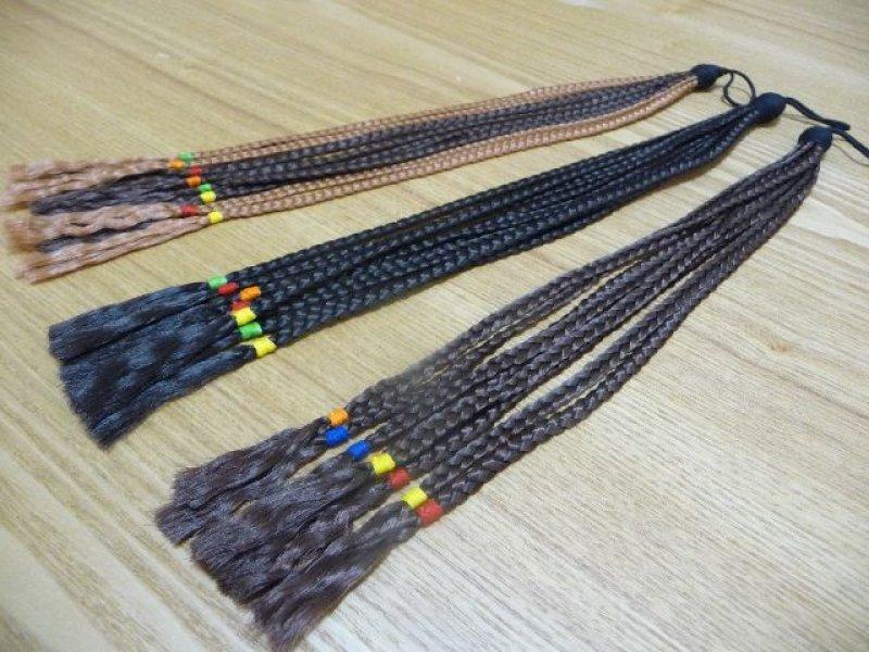 画像1: 【ダンス衣装】ヘアエクステ|ウィッグ 三つ編み束ゴム【約25cm】
