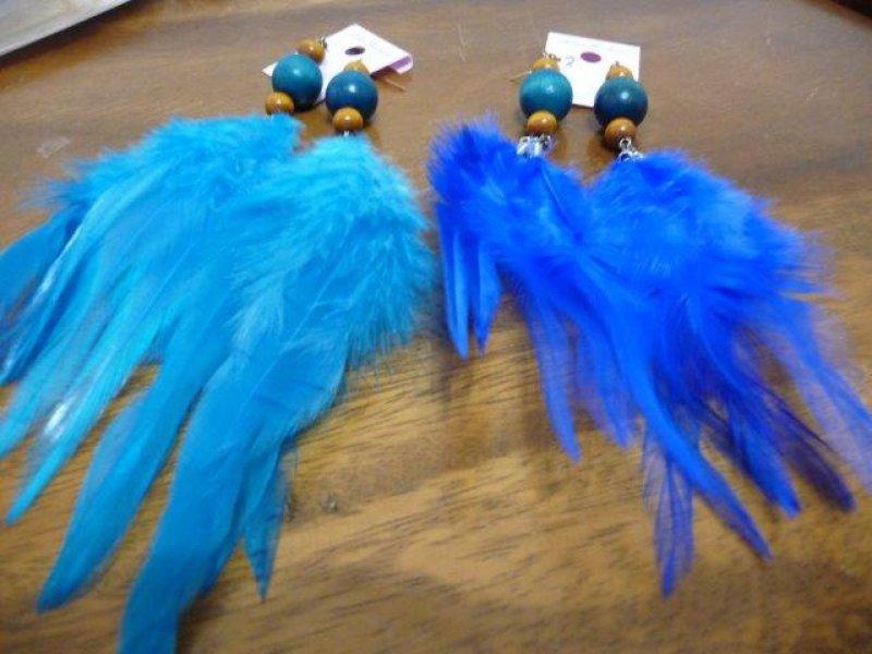 画像4: 【ダンス小物】ダンス衣装に!!丸玉幅広羽根ピアス