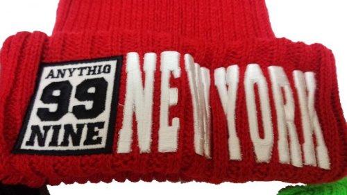 他の写真1: 【韓国子供服】カラーニット帽hiphopダンス衣装に!!【蛍光NEWYORK刺繍/ニット帽/キャップ/】