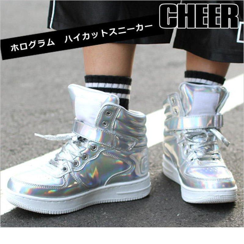 画像1: 【キッズダンスウェアー】CHEER ホログラムエナメルハイカットシューズ(CS629001)【チアー エナメル シューズ cheer 靴】