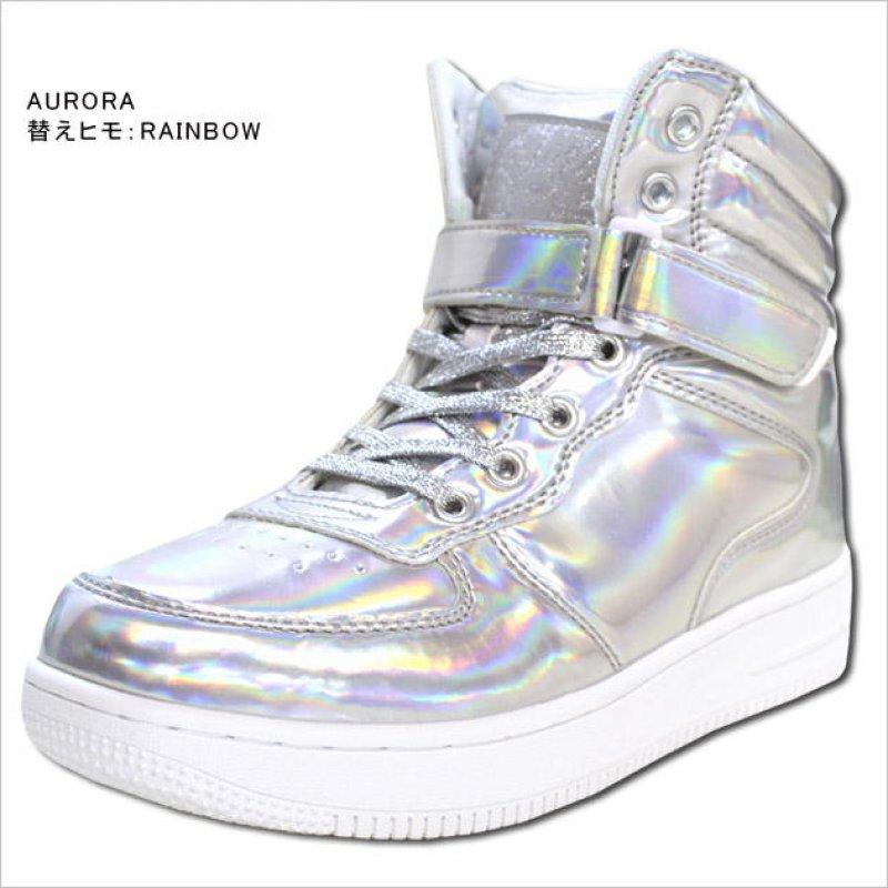 画像2: 【キッズダンスウェアー】CHEER ホログラムエナメルハイカットシューズ(CS629001)【チアー エナメル シューズ cheer 靴】