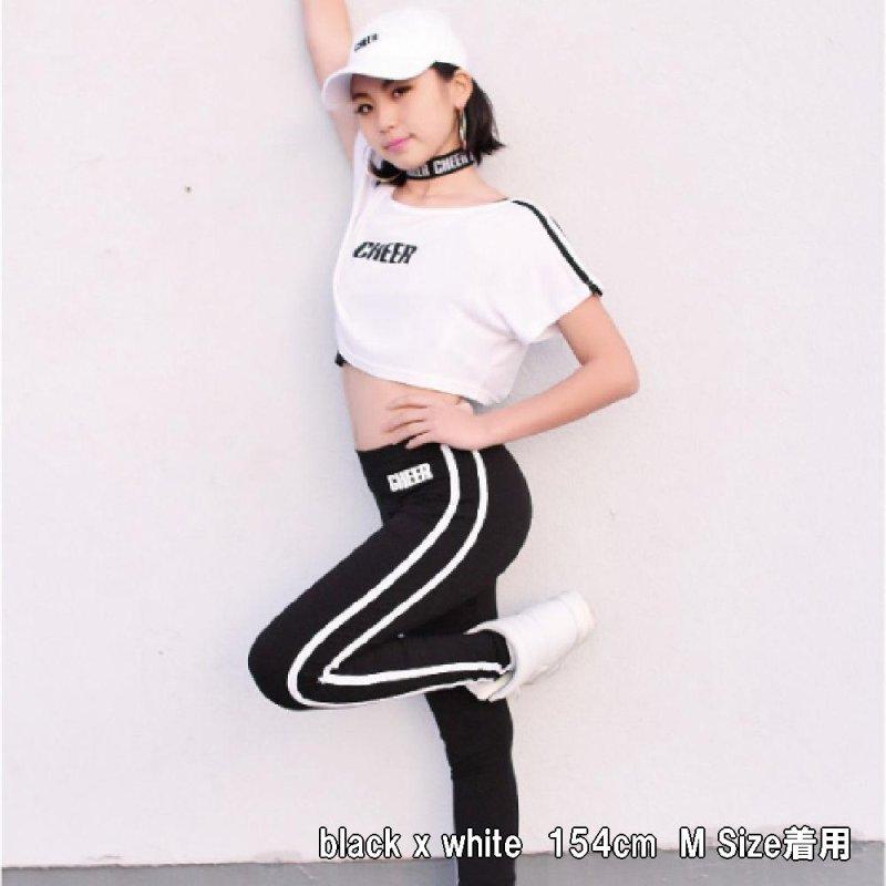 画像2: 【キッズダンスウェアー】CHEER EX ロゴワンポイントサイドダブルラインレギンス(CX822618)【キッズダンス衣装 レギンス チアー サイドライン 黒 ダンスレッスン着 キッズ ジュニア レギンスパンツ】