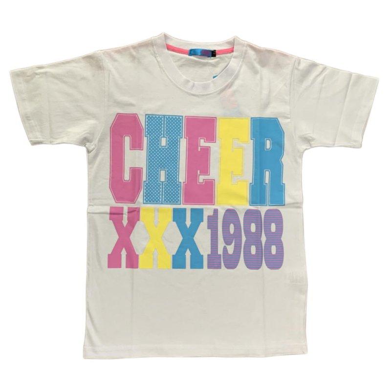 画像2: 【キッズダンスウェアー】CHEER EX カラフルロゴBIG半袖Tシャツ(CX913243)【ダンスTシャツ キッズ ダンス 衣装 cheer カラフル ロゴTシャツ チアー フィットネスウェア キッズ ジュニア】