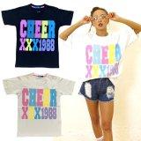 【キッズダンスウェアー】CHEER EX カラフルロゴBIG半袖Tシャツ(CX913243)【ダンスTシャツ キッズ ダンス 衣装 cheer カラフル ロゴTシャツ チアー フィットネスウェア キッズ ジュニア】