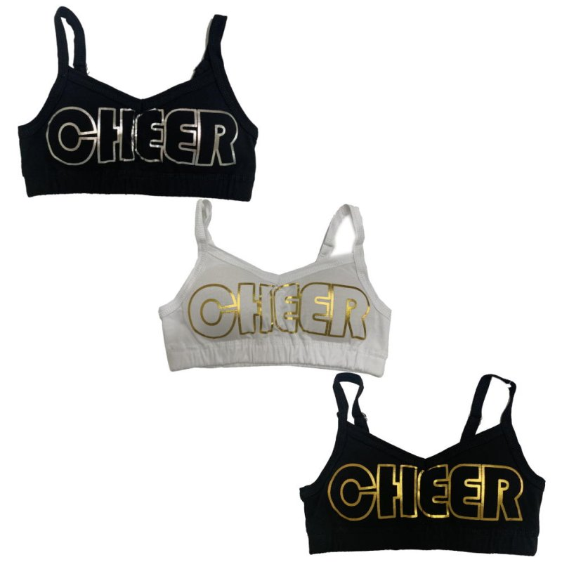 画像2: 【キッズダンスウェアー】CHEER EX ゴールド/シルバーロゴブラトップ(CX922515)【cheerブラトップ キッズダンス衣装 ブラトップ キッズ ダンス衣装インナー】