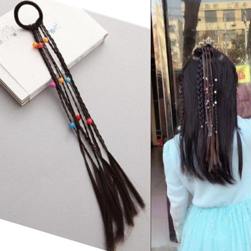 画像2: 【ダンス衣装】ヘアエクステ|ウィッグ 三つ編み束ゴムロングビーズ付き【約30cm】【ヘアアクセサリー ヘアゴム キッズダンス 髪型 ヘアアレンジ 女の子】