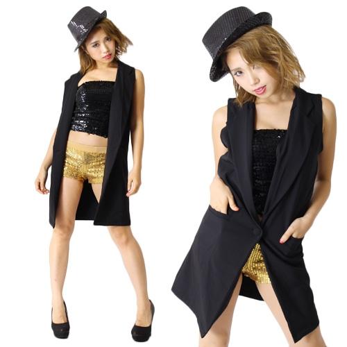 【ダンス衣装】ノースリーブロングジャケットひとつボタン【レデ...